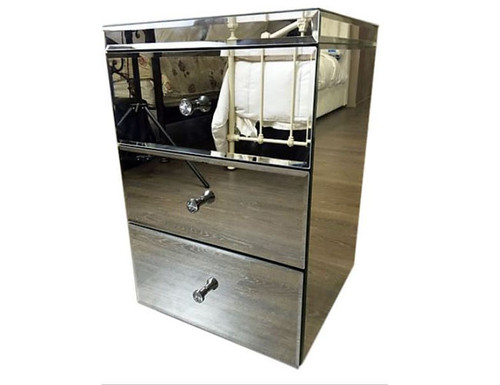 AMIGO   3 DRAWER MIRROR  BEDSIDE TABLE (3-1-16-18-9)  - MIRROR