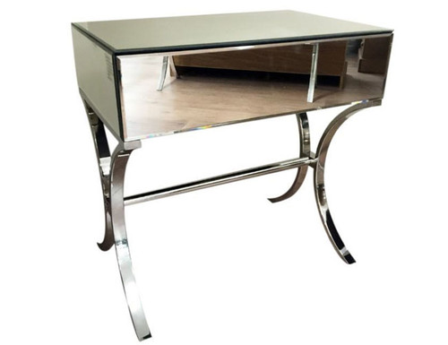 MADRID  SINGLE  DRAWER MIRRORED  BEDSIDE TABLE - SILVER