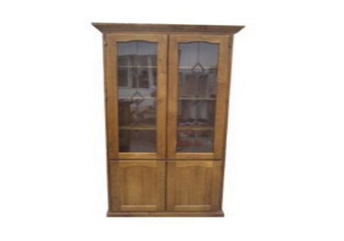 COLONIAL LIBRARY 4 DOOR DISPLAY CABINET WITH BOTTOM TIMBER DOORS (NO LEADLIGHT) - 1800(H) x 900(W) - ASSORTED COLOURS
