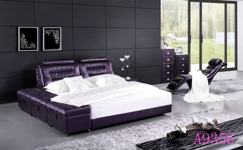 PRINCETON (156#) KING 3 PIECE LEATHERETTE (BEDSIDE) BEDROOM SUITE  (A9356) - ASSORTED COLOURS (MADE TO ORDER)