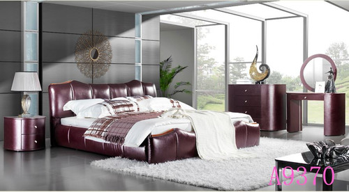 BENTON KING 4 PIECE  LEATHERETTE  TALLBOY BEDROOM SUITE   (MODEL - A9370) - ASSORTED COLORS  (MADE TO ORDER)