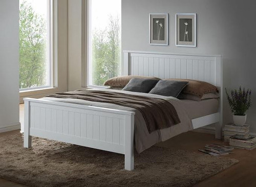 DOUBLE EMPRESS HARDWOOD / CUSTOM-WOOD BED (2-18-15-4-9-5) - WHITE