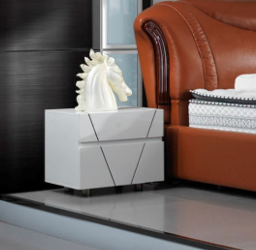 EDWARDO  2 DRAWER BEDSIDE TABLE  - WHITE (MADE TO ORDER)