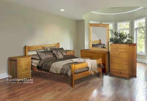 CHUNKY DOUBLE OR QUEEN 4 PIECE TALLBOY BEDROOM SUITE - ASSORTED COLOURS