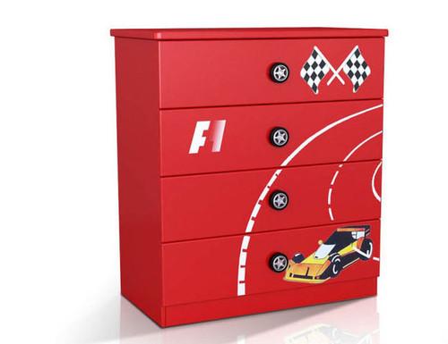 F1 (MODEL 1105-264R) 4 DRAWER TALLBOY - 960(H) X 860(W) - RED