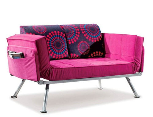 ALICIA 2 SEATER  FABRIC SOFA BED - PINK