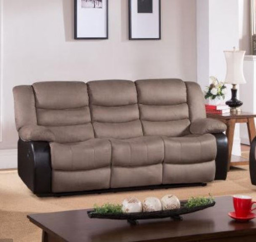 DAKOTA 3 SEATER FABRIC RECLINER (DAKRR3)  - CARAMEL/ BROWN