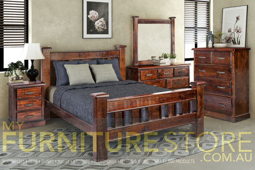 CALISTA QUEEN 6 PIECE (THE LOT) BEDROOM SUITE - ROUGH SAWED