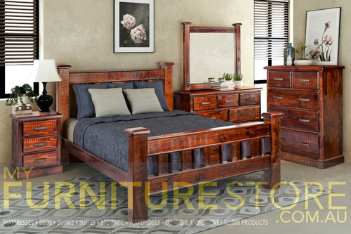 CALISTA  KING 4 PIECE TALLBOY BEDROOM SUITE WITH 5 DRAWER CHEST - ROUGH SAWED