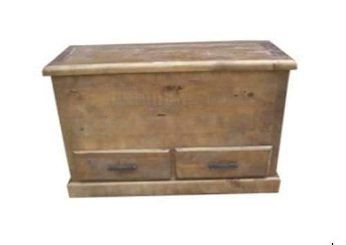 CALISTA (COBBB) BLANKET BOX WITH 2 DRAWERS - ROUGH SAWED (DARKER THAN IMAGE)