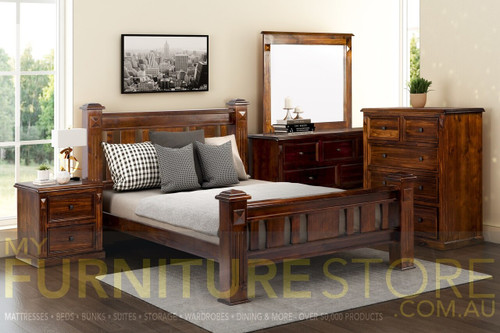 LEGIONS QUEEN 4 PIECE (TALLBOY) BEDROOM SUITE - BALTIC OR WALNUT (PICTURED)