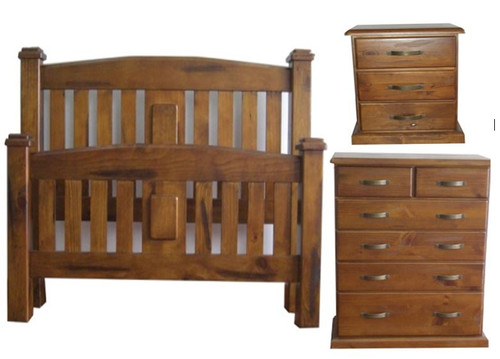 CENTURY KING 4 PIECE  TALLBOY  BEDROOM SUITE  - RUSTIC