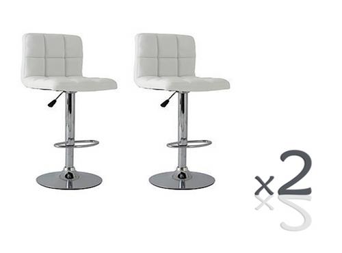 LANCER (BARS-37WH-ONE)  SET OF 2   PIECE  FULL GRID  KITCHEN BAR STOOLS - SEAT: 950 - 1160(H) - WHITE OR  BLACK