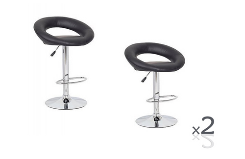 CONIX ( BARS-14BK-ONE)  SET OF 2 PACK CIRCULAR  KITCHEN BAR STOOLS - SEAT: 820 - 1040(H) - BLACK