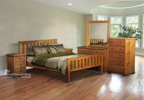 KING FEDERATION (AUSSIE MADE) BED WITH MATCHING FOOT END - ASSORTED COLOUR STAINS