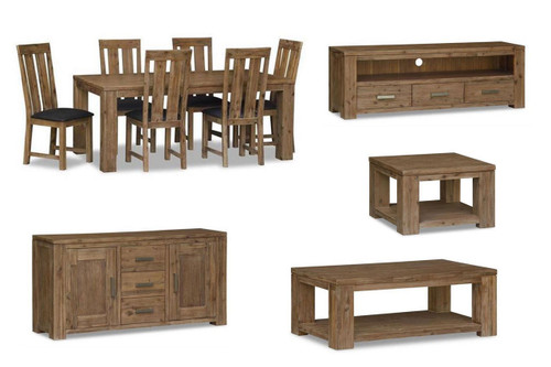 ASHTON 11 PIECE LIVING & DINING SETTING - LIGHT OAK