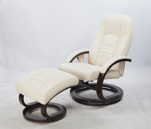 WALLEN DELUXE LEATHERETTE (LDF-5001-CREAM)  RECLINER MASSAGE CHAIR  WITH FOOT REST  - CREAM