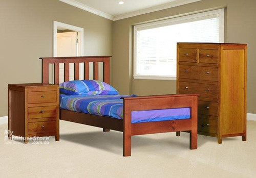 KING SINGLE FEDERATION (AUSSIE MADE) BED WITH RAILED FOOT END - ASSORTED COLOURS
