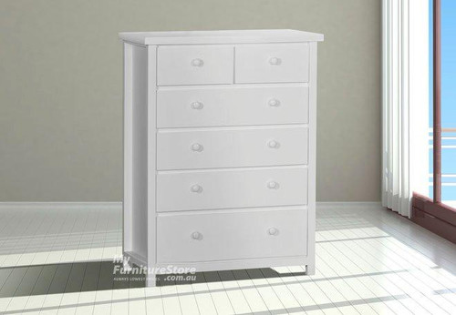 FEDERATION TALLBOY  6 DRAWER (TOP SPLIT) 1300(H) X 1100(W) - WHITE
