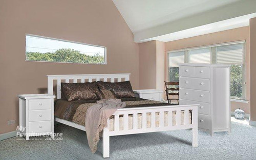 DOUBLE FEDERATION BED (AUSSIE MADE) WITH MATCHING FOOT END - WHITE