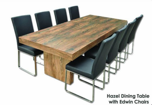HAZEL 9 PIECE DINING SETTING WITH EDWIN CHAIRS - 2400(L) x 1050(W) TABLE - ANTIQUE OAK / BLACK OR WHITE CHAIRS