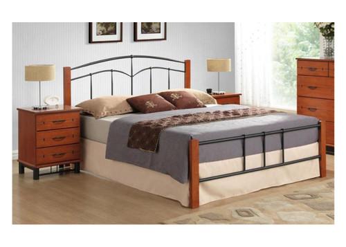 SINGLE YORK BED (IM-3201) - BLACK / CHERRY