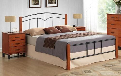 YORK DOUBLE OR  QUEEN 3 PIECE  BEDSIDE BEDROOM SUITE (IM-3201) - BLACK / CHERRY