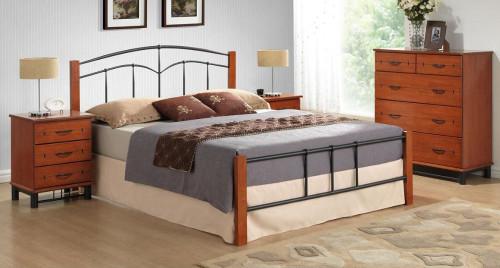 YORK DOUBLE OR  QUEEN 4 PIECE  TALLBOY BEDROOM SUITE (IM-3201) - BLACK / CHERRY