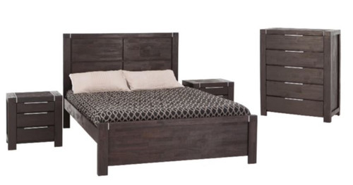 RALPH QUEEN 4 PIECE  TALLBOY  BEDROOM SUITE - RAINFOREST BROWN
