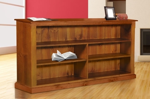DRAGON / COLONIAL WITH FACINGS LOWLINE BOOKCASE - 1000(H) X 2200(W) - PRICED IN WHITE OR ANTIQUE WHITE (IVORY)