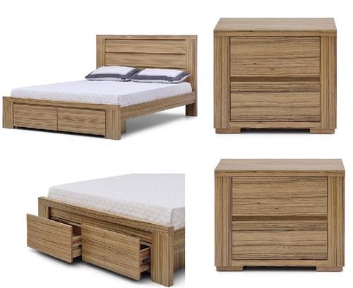 AKONI QUEEN 3 PIECE   BEDSIDE  BEDROOM SUITE - (10-1-13-5-12) - NATURAL