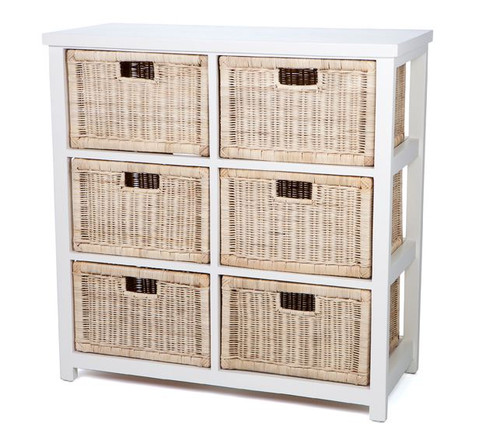 BESSY VERTICAL CANE STORAGE DRAWERS (RDB786VN) WITH 6 DRAWERS - NATURAL / WHITE