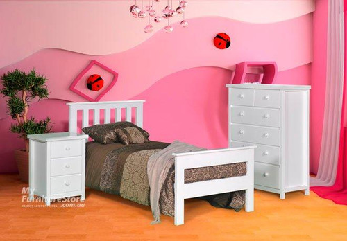 FEDERATION (AUSSIE MADE) WITH 2 RAIL FOOT END SINGLE OR KING SINGLE 3 PIECE BEDROOM SUITE - ASSORTED COLOURS