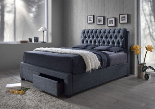 KING LOUTON FABRIC BED WITH 2 BED END DRAWERS - (MODEL:CF-8568) - CHARCOAL GREY
