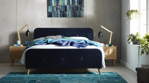 DOUBLE EMINENCE / COBY RETRO FABRIC BED - (MODEL- 2-15-19-3-15) - BLUE
