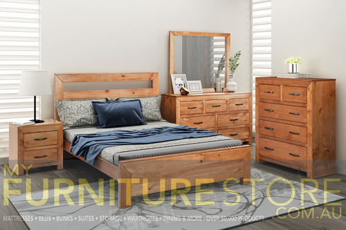 BUSTIN SINGLE  OR KING SINGLE 3 PIECE BEDROOM SUITE  - (6-18-1-14-11) -  BALTIC(#503) OR WALNUT (#400)