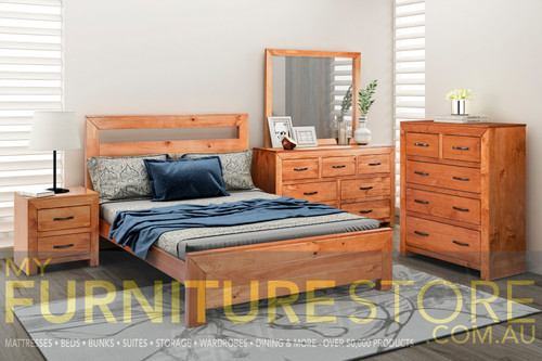 BUSTIN DOUBLE OR QUEEN 4 PIECE TALLBOY BEDROOM SUITE - (6-18-1-14-11) - BALTIC (#503) OR WALNUT (#400)
