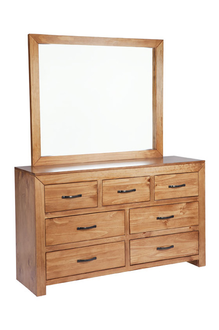 BUSTIN 7 DRAWER DRESSER WITH MIRROR - 875(H) X 1480(W) -  (6-18-1-14-11) - BALTIC(#503) OR WALNUT (#400)
