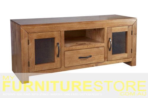 BUSTIN (UNIT 3) ENTERTAINMENT UNIT WITH 2 DOORS &  DRAWER (MODEL:6-18-1-14-11) - 595(H) x 1420(W) - BALTIC (#503) OR WALNUT (#400)