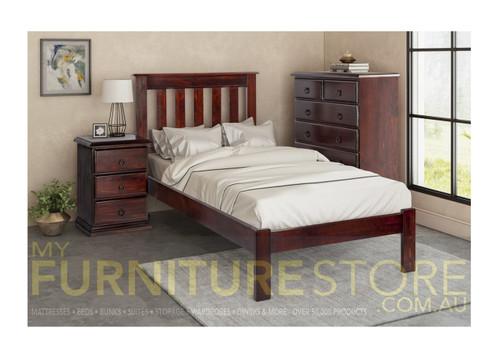 SINGLE CRONULLA CRSB(b)) BED WITH DOONA FOOT - BALTIC(#215), WALNUT(#219) OR GREY WASH(#501)