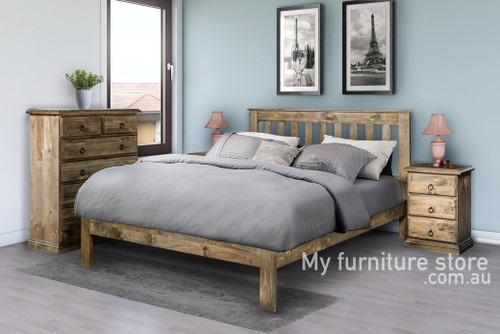 CRONULLA DOUBLE OR QUEEN 4 PIECE (TALLBOY) BEDROOM SUITE - BED WITH DOONA FOOT - BALTIC (#215) , WALNUT (#219) OR GREYWASH (#501)