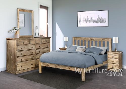 CRONULLA DOUBLE OR QUEEN 5 PIECE (DRESSER) BEDROOM SUITE - BED WITH DOONA FOOT - BALTIC (#215) , WALNUT (#219) OR GREY WASH (#501)