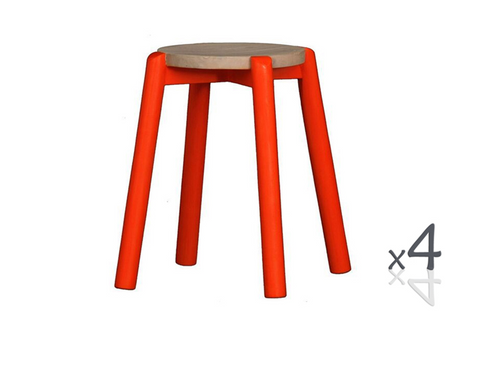 WILLOW (BR048RO) WOODEN ROUND BARSTOOL / KITCHEN BENCH (4 UNITS IN A BOX) - SEAT: 480(H) - WASHED/ ORANGE