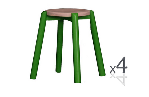 WILLOW (BR048RO) WOODEN ROUND BARSTOOL / KITCHEN BENCH  (4 UNITS IN A BOX) - SEAT: 480(H) - GREEN  / WASHED