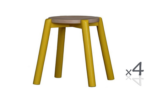 WILLOW (BR048ROWSY) WOODEN ROUND BARSTOOL / KITCHEN BENCH  (4 UNITS IN A BOX) - SEAT: 480(H) - YELLOW / WASHED