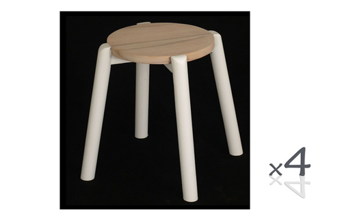 WILLOW (BR048ROWWS) WOODEN ROUND BARSTOOL / KITCHEN BENCH  (4 UNITS IN A BOX) - SEAT: 480(H) - WHITE/ WASHED