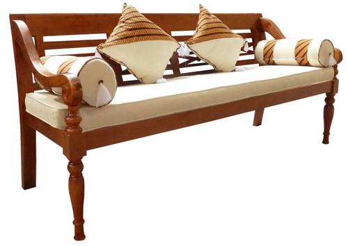 XL REST BENCH WITH CUSHION AND PILLOW (CH 004 TW W/ C) -900(H) x 2000(W)- LIGHT PECAN