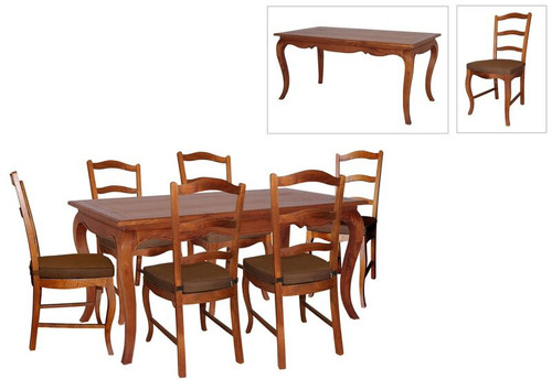FRENCH PROVINCIAL 7 PIECE DINING SETTING WITH CUSHIONED CHAIRS  - 1600(L) X 850(W)  - LIGHT PECAN