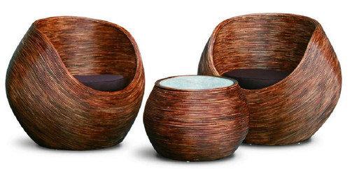 BARAMBIE CANE /  RATTAN 3 PIECE SETTING - CHOCOLATE