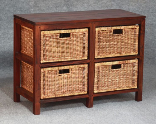 FERNARY (SB 004 RT ) RATTAN STORAGE UNIT WITH 4 DRAWERS - MAHOGANY